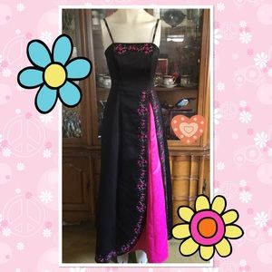 Black/hot pink embroidery beads gown dress